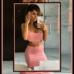 One Shoulder Cutout Tie Back Bodycon Dress Pink S